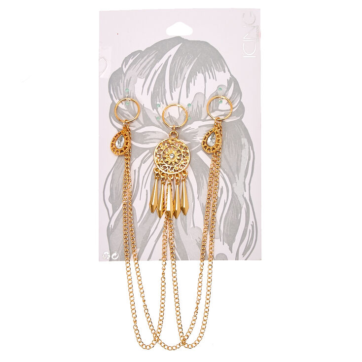 Gold Dreamcatcher Hair Rings,