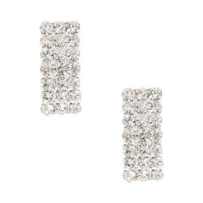 Silver-tone Curved Rectangle  Clear Glass Stone Clip-on Stud Earrings,