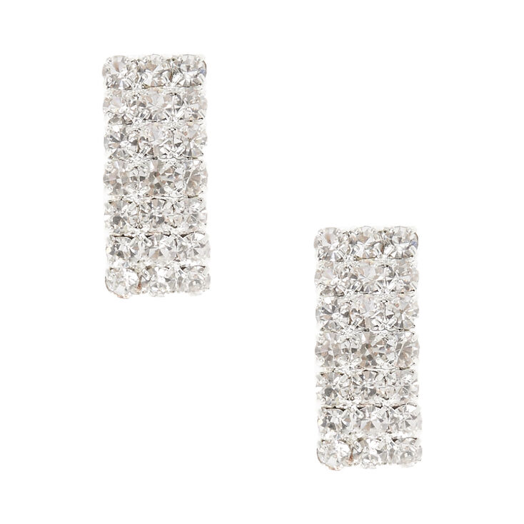 Silver Tone Curved Rectangle  Clear Glass Stone Clip-on Stud Earrings,