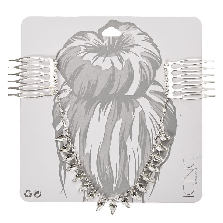 Silver Tone Clear Crystal Teardrop Hair Swag,
