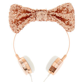 Rose Gold Sequin Bow Thin Headphones,