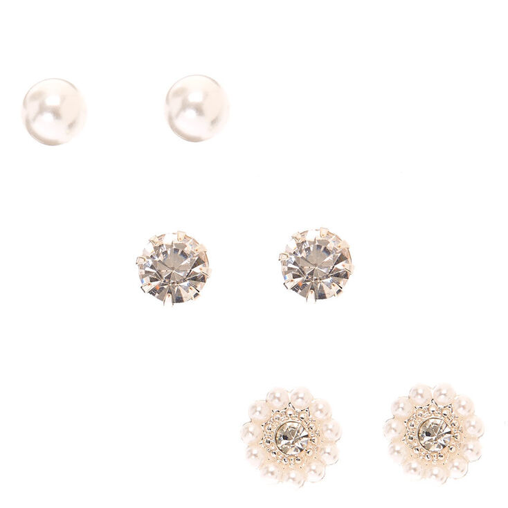 Mixed Crystal & Faux Pearl Pavé Cluster Stud Earrings,