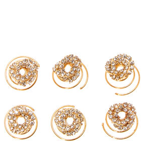 Gold Tone Crystal Knot Hair Spinners,
