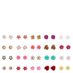 Tiny Flower Stud Earrings Set of 20,