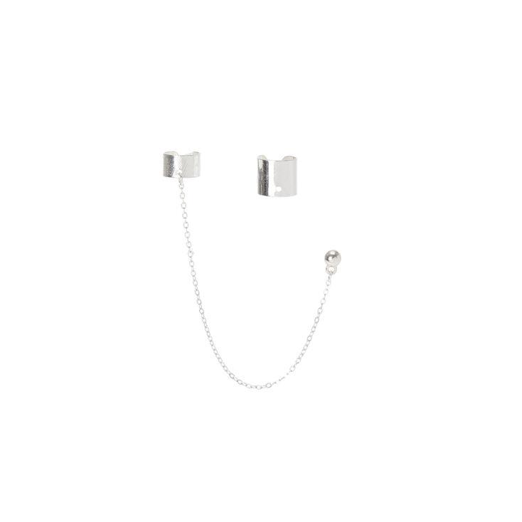 Silver Band & Chain Ear Cuff Set,