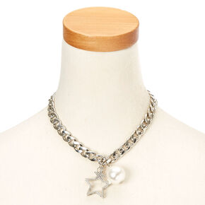 Silver-Tone Chunky Chain Necklace with Star & Pearl Charms,