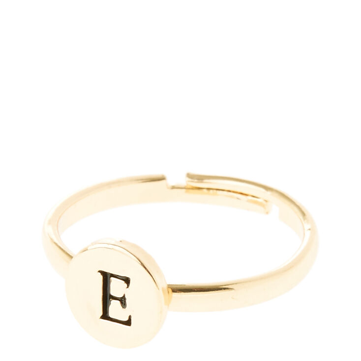 """Gold Circle """"E"""" Initial Letter Ring,"""