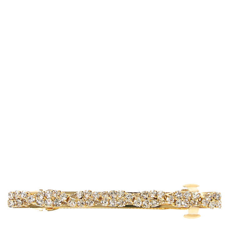 Gold & Faux Crystal Twisted Hair Clip,