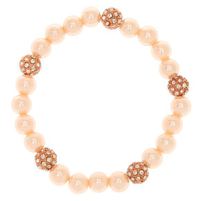 Blush Fireball & Pearl Bead Stretch Bracelet,