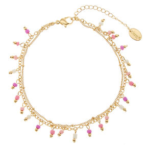 Pink and White Double Layer Beaded Anklet,