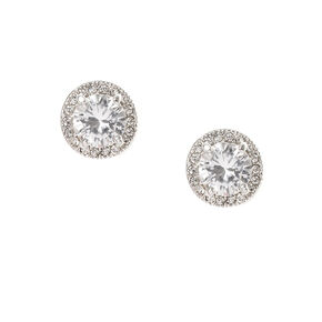Framed Round Cubic Zirconia Stud Earrings,