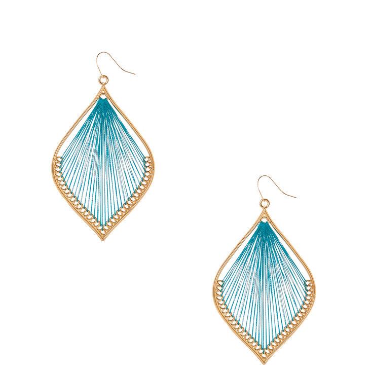 Gold Tone & Turquoise  Yarn Dreamcatcher Drop Earrings,