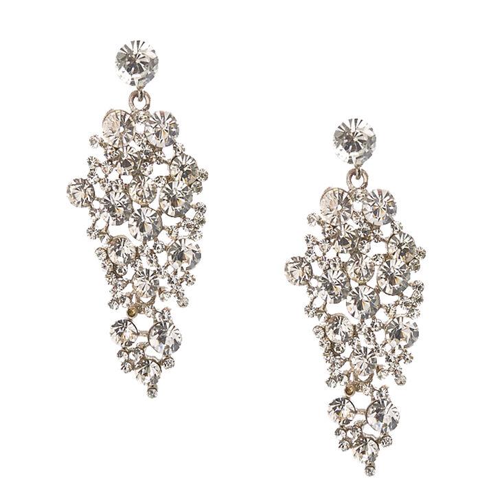 Clear Faux Crystal Cluster Drop Earrings,
