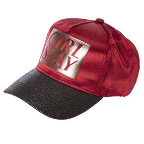Burgundy & Black Glitter GIRL SLAY Baseball Hat,