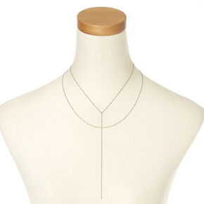 SIlver-tone Textured Y Chain Necklace,