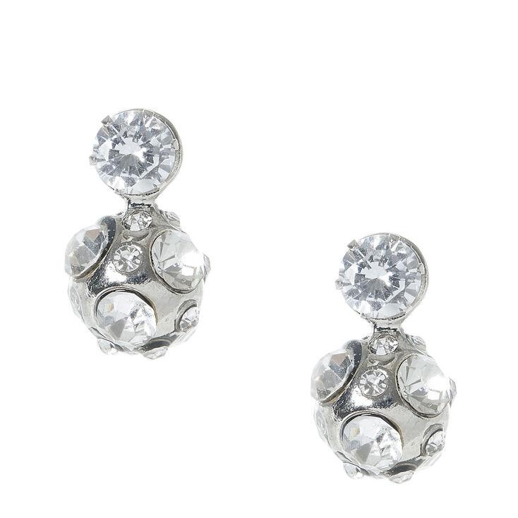 Silver tone Fireball Front & Back Stud Earrings,