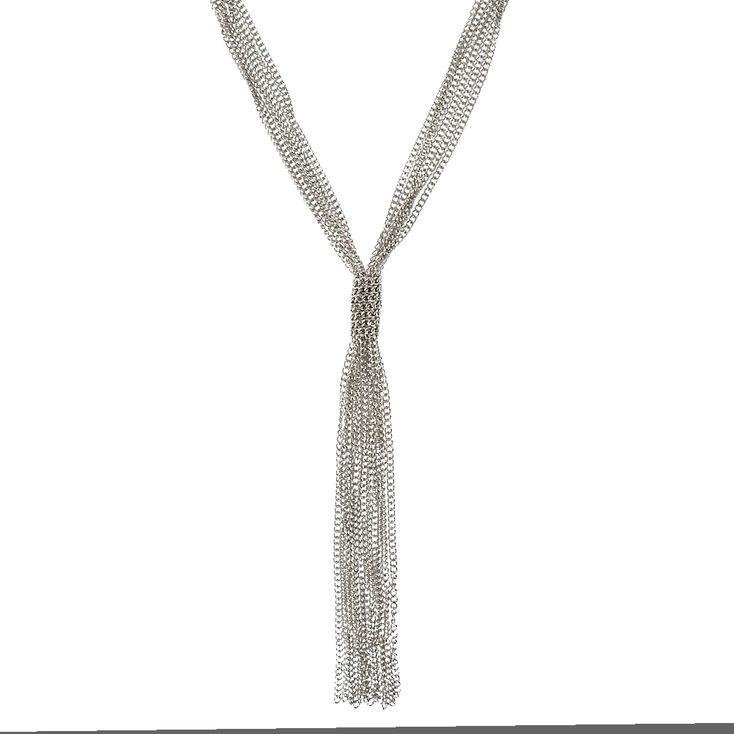 Silver-Tone Thick Multi-chain Tassel Necklace,