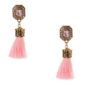 Gold Tone & Pink Gem Tassel Drop Earrings,