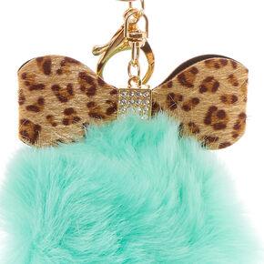 Leopard Print Bow & Fluffy Mint Pom Pom Keychain,