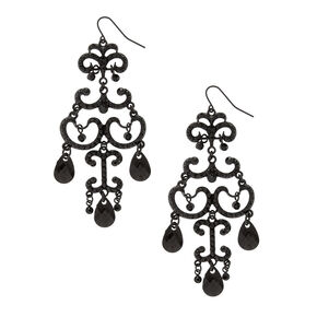 Black Filigree and Pillowed Beads Drop Earrings,