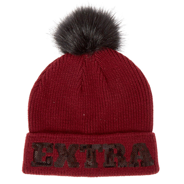 Burgundy Ribbed Pom Extra Beanie Hat,