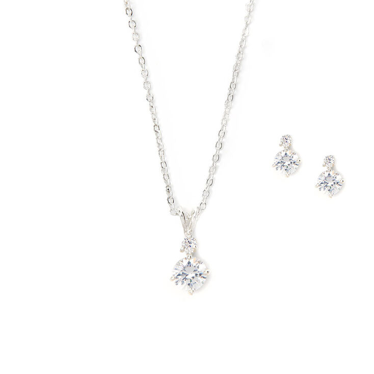 Cubic Zirconia Diamond Drop Pendant Necklace & Earrings Set,