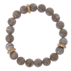 Slate Beaded Stretch Karma Bracelet,