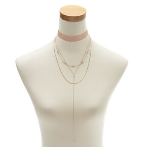 Rose Gold 4-Layer Choker Necklace,