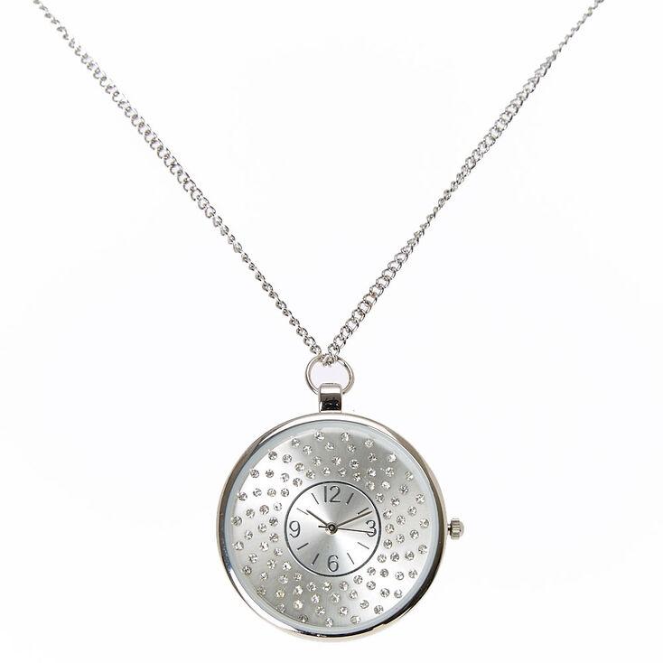 Crystal Swirl Watch Pendant Necklace,