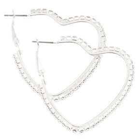 Stone Studded Heart Hoop Earrings,