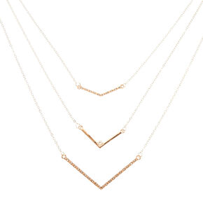 Rose Gold Chevron Layered Necklace,