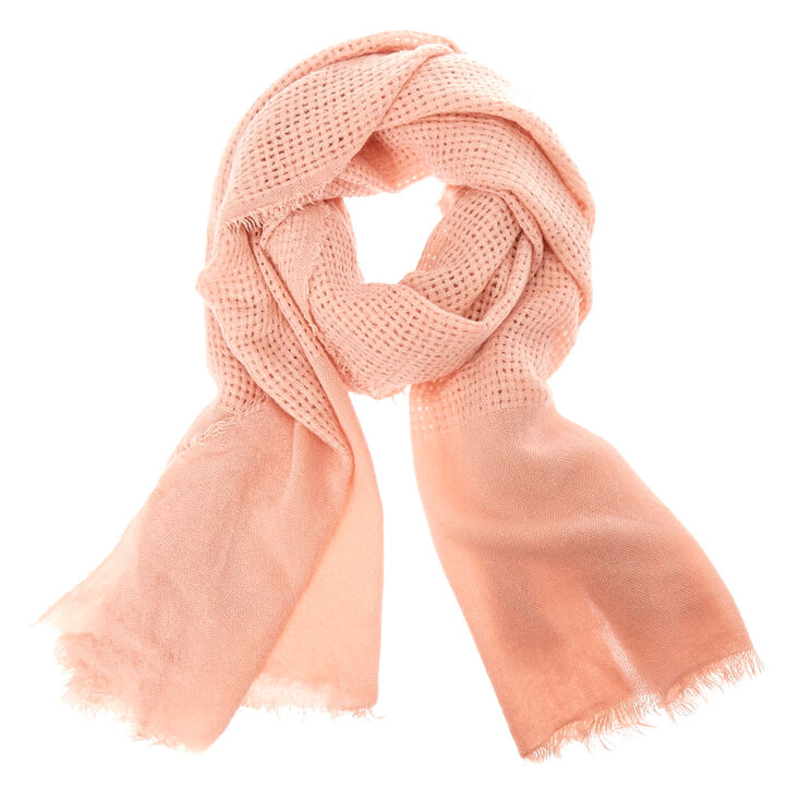 Solid Blush Waffle Style Blanket Scarf,