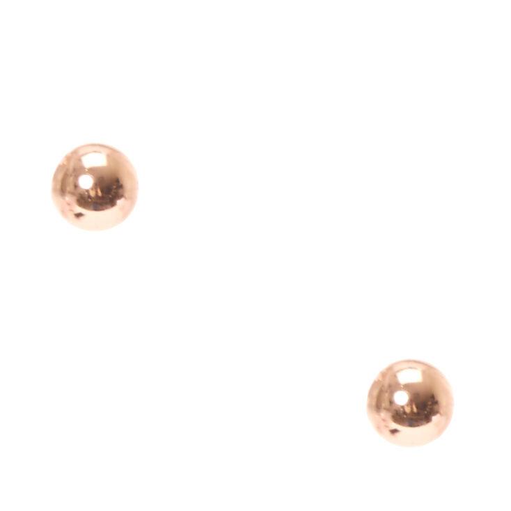 Rose Gold Tone Ball Stud Earrings,