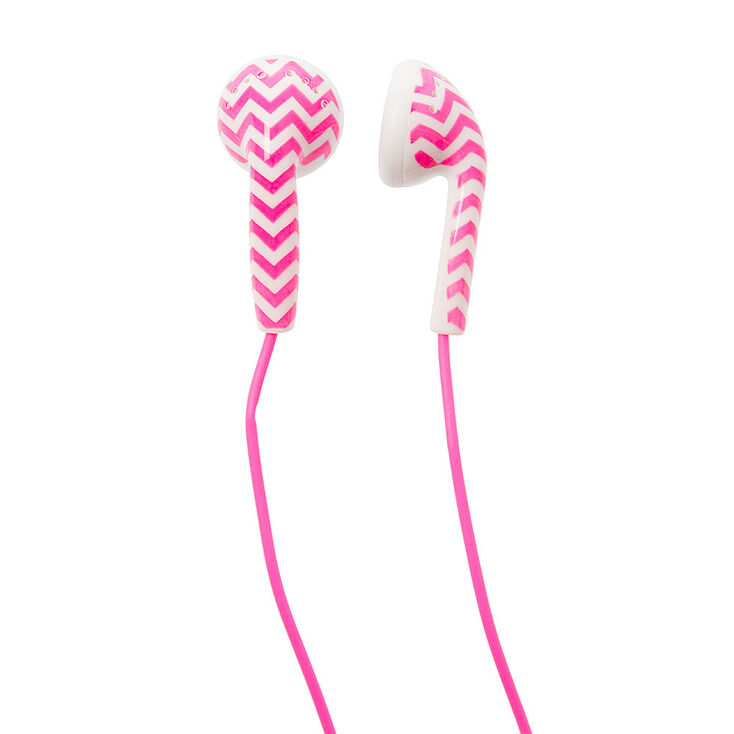 Pink & White Chevron Earbuds,