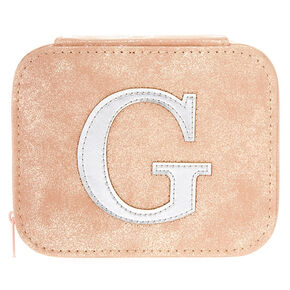 """Blush Pink """"G"""" Initial Jewelry Case,"""