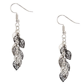 Silver and Black Leaves Drop Earrings,