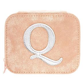 "Blush Pink ""Q"" Initial Jewelry Case,"