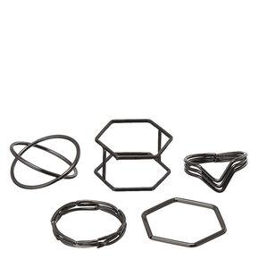 5 Pack Black Geometric Rings,