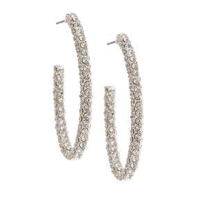 Silver-Tone Pave Oval Hoop Earrings,