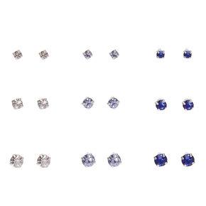 Clear, Lavendar & Blue Graduated Crystal Stud Earrings,