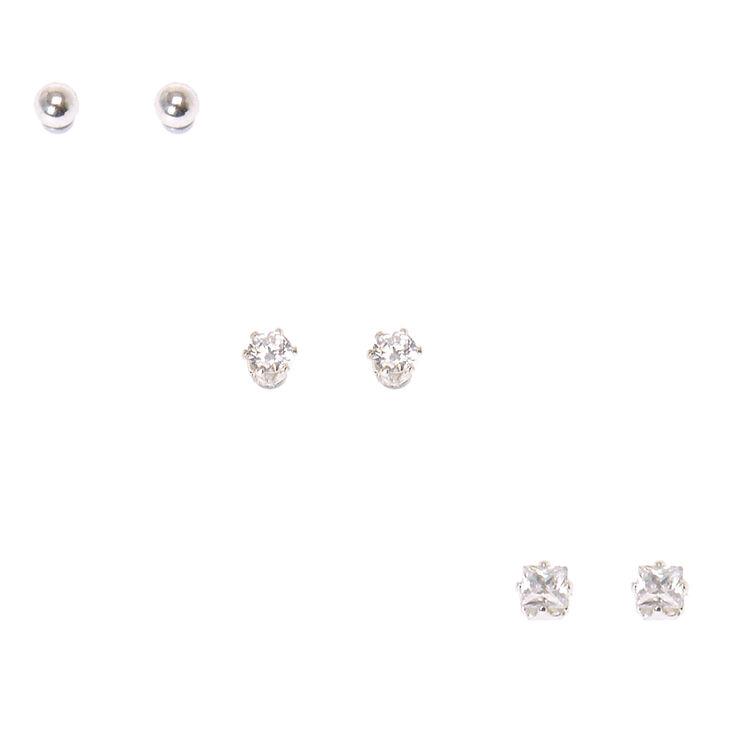 Classic Trio Cubic Zirconia Magnetic Stud Earrings,