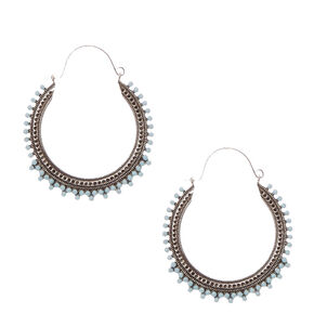 Antique Silver and Round Turquoise Stone Hoop Earrings,