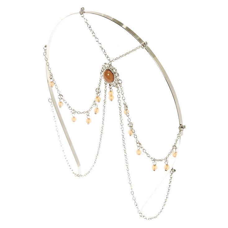 Silver Beaded Head Chain,