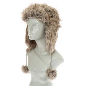 Gray Faux Fur Trapper Ski Hat,