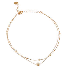 Double Strand Faux Pearl & Gold Tone Chain Choker Necklace,