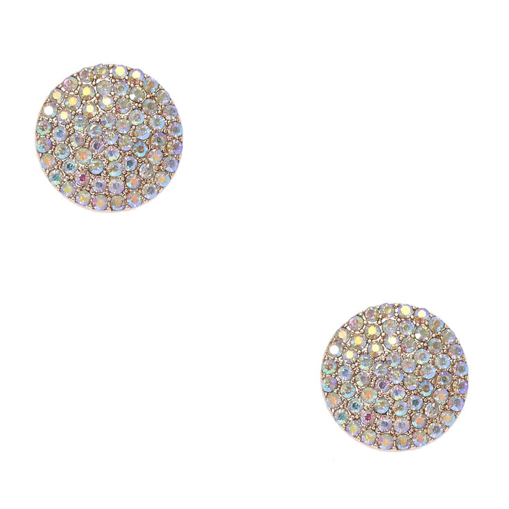 Iridescent Crystal Studded Large Gold Circle Clip-on Stud Earrings,