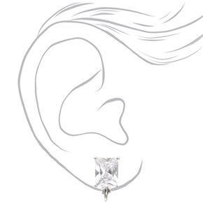 Silver-tone Framed Rectangle Cut Cubic Zirconia Stud Clip-on Earrings,