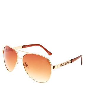 Rose Gold & Leopard Print Sunglasses,