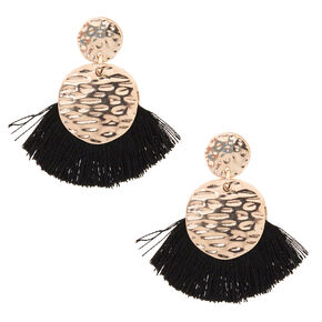 Black Tassel Drop Earrings,