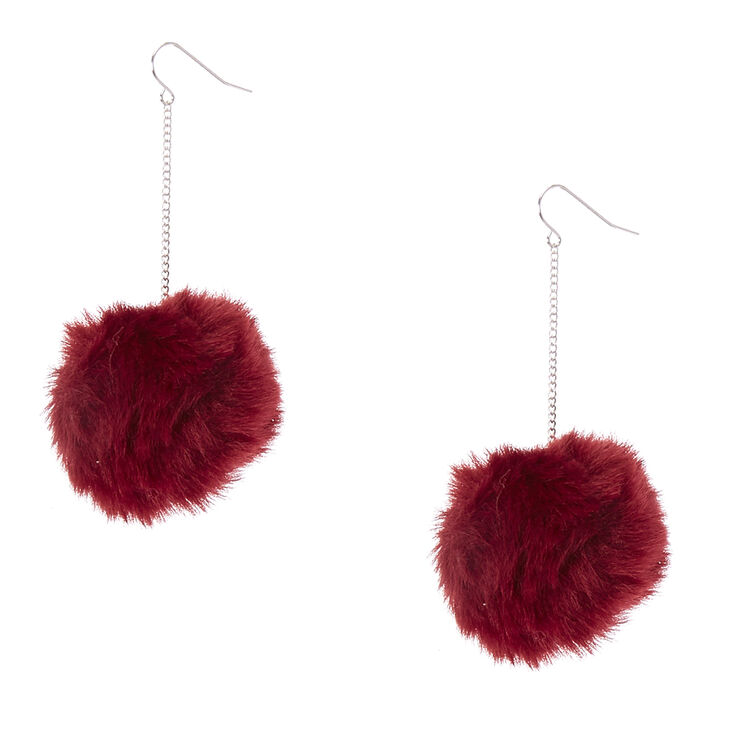 Wine Pom Pom Drop Earrings,